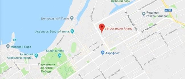 Автовокзал Анапы на карте города